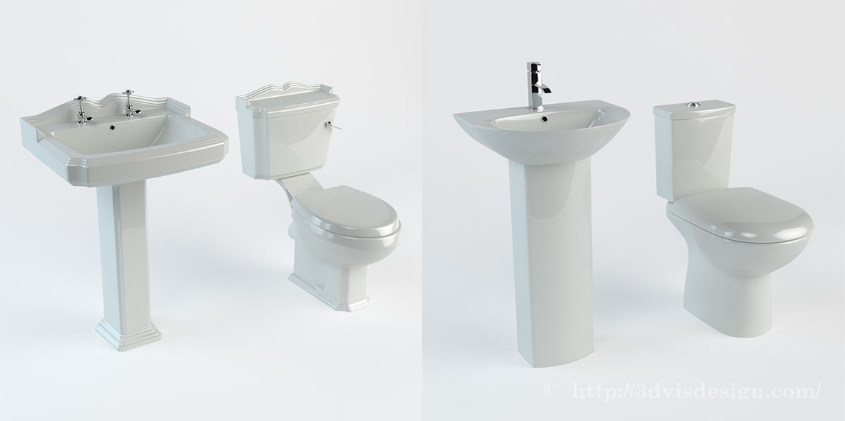 Bathroom suites 3d modeling