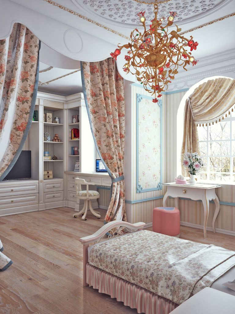 Girls Bedroom . Classic Interior Design