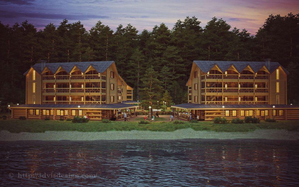 wooden hotel complex