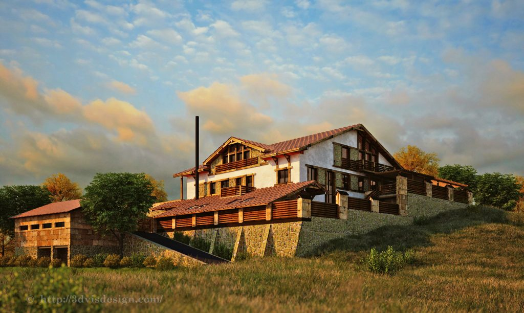 Photorealistic 3D rendering of a country house.